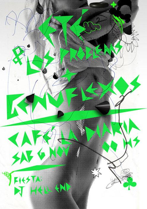 Eté & los Problems + Genuflexos 50 x 70 cm Café La Diaria